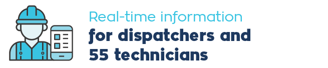 • Real-time information for dispatchers and 55 technicians