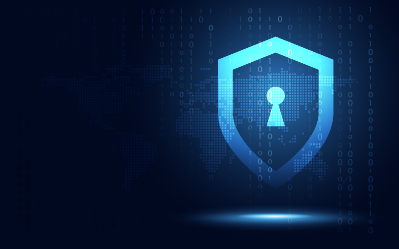 Futuristic blue shield ethics and privacy protection abstract technology background