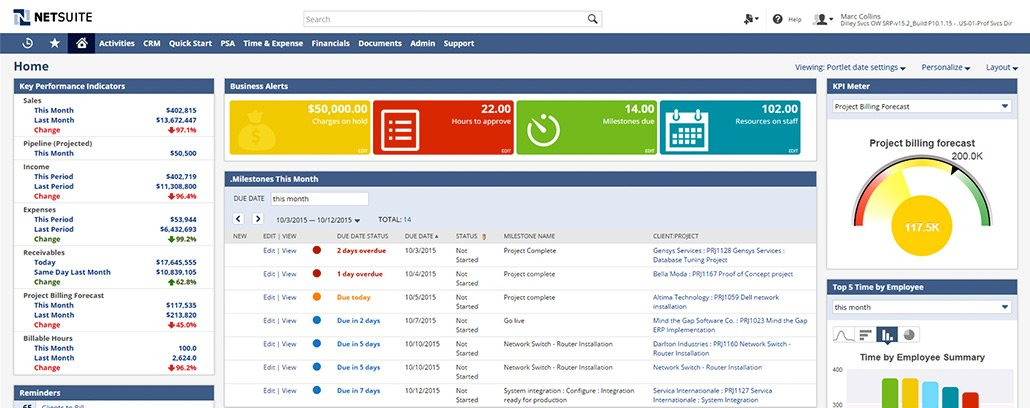 NetSuite Cloud ERP Software - Dashboard