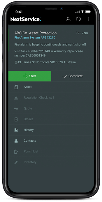 NextService Shown on Mobile View